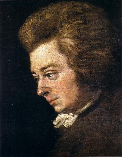 Regarded by historians as the most accurate surviving likeness of Mozart, this is a section of an unfinished 1782 portrait by his brother-in-law Joseph Lange. painted when the composer was 26 years old. The splotchy texture of the composer's cheeks, visible in the original painting on display at the Mozart Museum in Salzburg, was verified by Mozart's contemporaries.