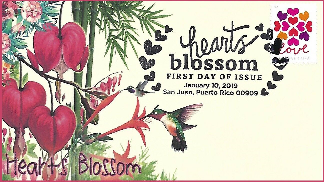 United States - Hearts Blossom (January 10, 2019) first day cover, pictorial cancellation, unofficial cachet