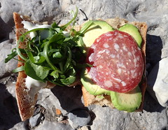 Cancoillotte-avocat-saucisson-roquette/mache - Photo of Moriez
