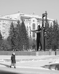 Monument at the Lenin Square in Novosibirsk city