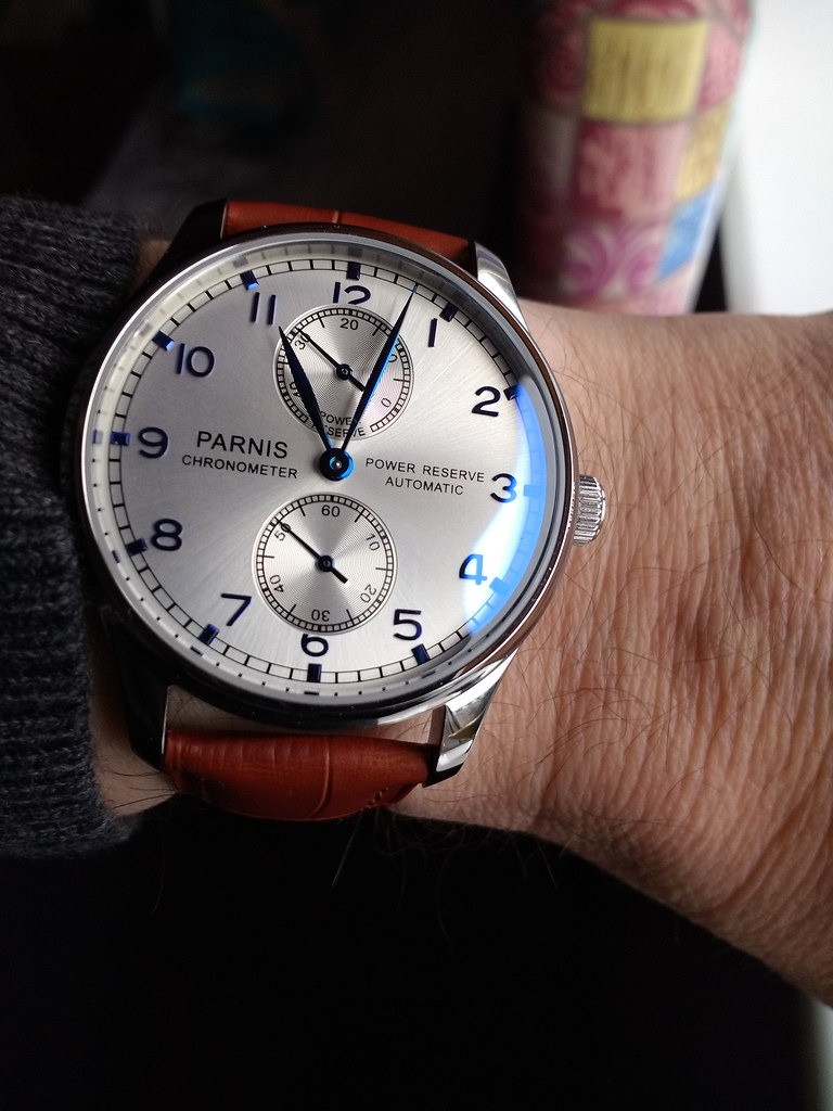 Parnis 43mm Small Second Power Reserve Automatic PA767 (Sea-Gull 2542) (1)
