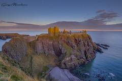 Last light of sunset on Dunnottar Castle