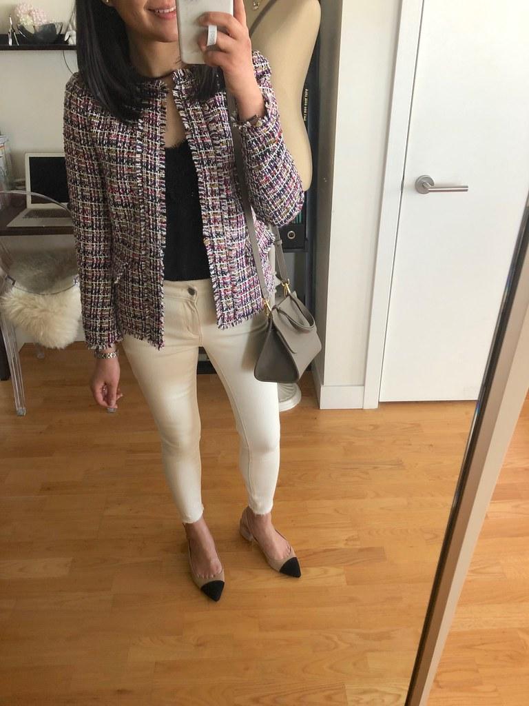 Ann Taylor Fringe Tweed Peplum Jacket, size 00P