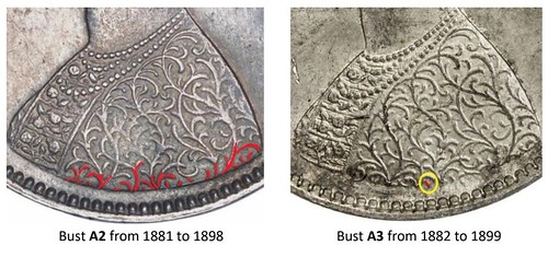 British Indian Half Rupee Bust Variety image11 Bust A2 from 1881 to 1898 Bust A3 from 1882 to 1899