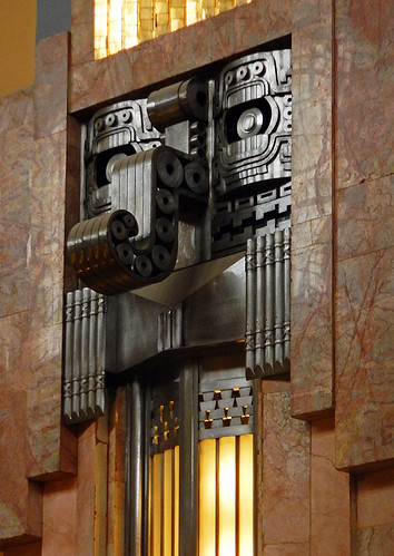 Chaac, the Mayan god of rain, gets an Art Deco makeover in some of the lighting fixtures of the Palacio de Bellas Artes, Mexico City