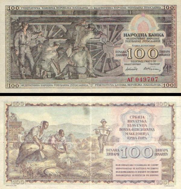 100 Dinárov Juhoslávia 1953, P68