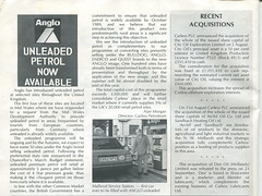 Carless plc magazine, 1988, with details of Anglo Unleaded and Mallwyd Service Station