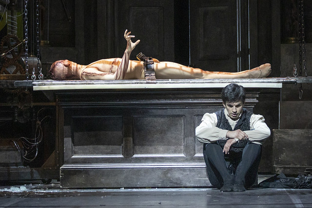 Wei Wang as The Creature and Federico Bonelli as Victor Frankenstein in Frankenstein, The Royal Ballet © 2019 ROH. Photograph by Andrej Uspenski
