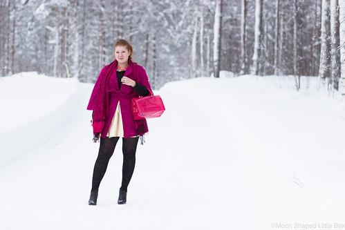 ril's villakangastakki, pinkki talvitakki, kultainen mekko, talvimuoti