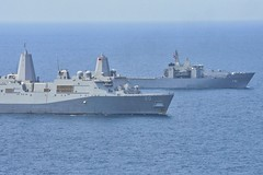 GULF OF THAILAND (Feb. 14, 2019) The amphibious transport dock ship USS Green Bay (LPD 20) and the Royal Thai Navy landing platform dock ship HTMS Angthong (LPD 791) steam together in the Gulf of Thailand. Green Bay, part of the Wasp Amphibious Ready Group, with embarked 31st Marine Expeditionary Unit (MEU), is in Thailand to participate in Exercise Cobra Gold 2019. Cobra Gold is a multinational exercise co-sponsored by Thailand and the United States that is designed to advance regional security and effective response to crisis contingencies through a robust multinational force to address common goals and security commitments in the Indo-Pacific region.  (U.S. Navy photo by Cpl. William Carr)