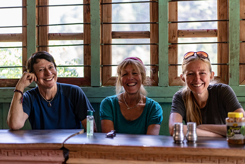 Steffi, Anne and Mary.  Tea House Lunch stop.  On trail to Dyang