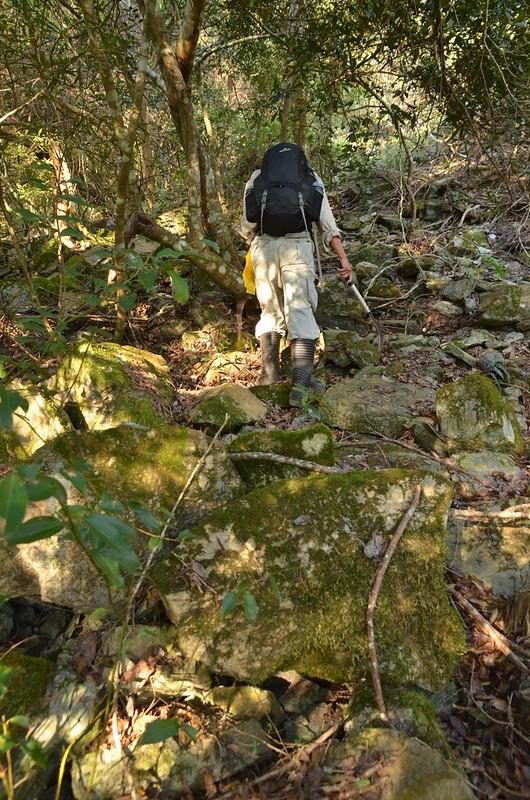 唉唉山登山山徑岩石坡