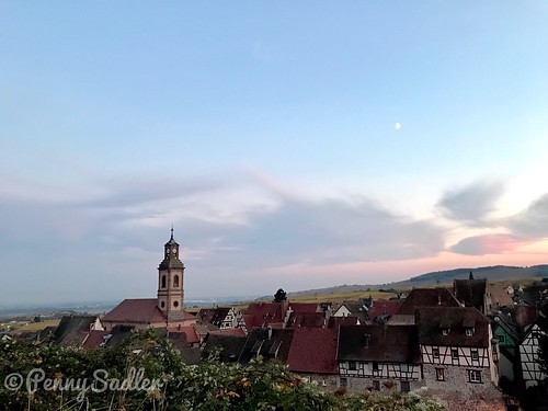 The Protestant church as seen from the Schoenenberg vineyards of Riquewihr on a moonlit night. It was very romantic! From The History and Architecture of Riquewihr in Photos