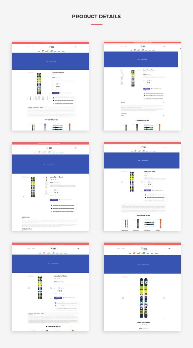Ap Skis Prestashop Skateboard Themes - Multiple product page layouts