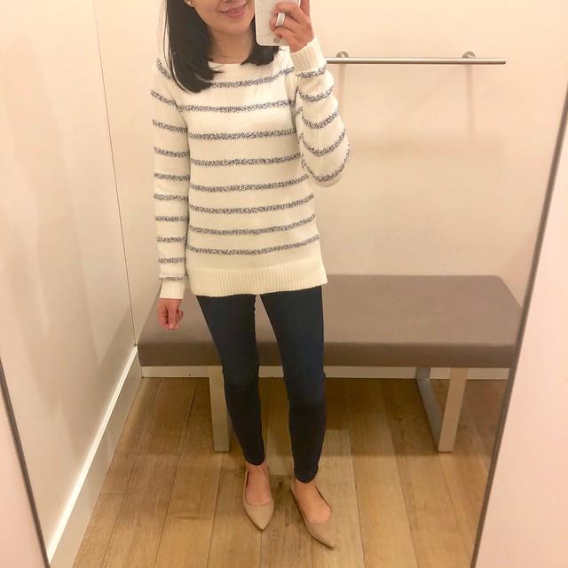 LOFT Textured Stripe Sweater, size XS regular