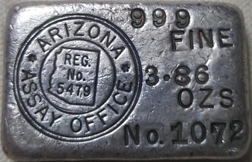 Arizona Assay Office silver ingot DOUBLE-RING-HALLMARK