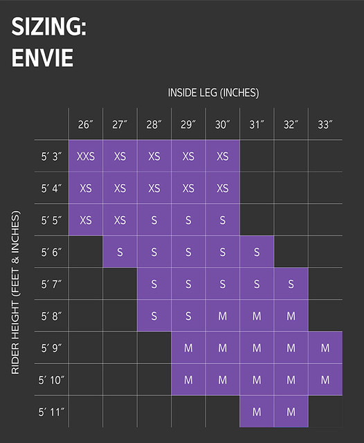 Liv Enviliv Size Chart