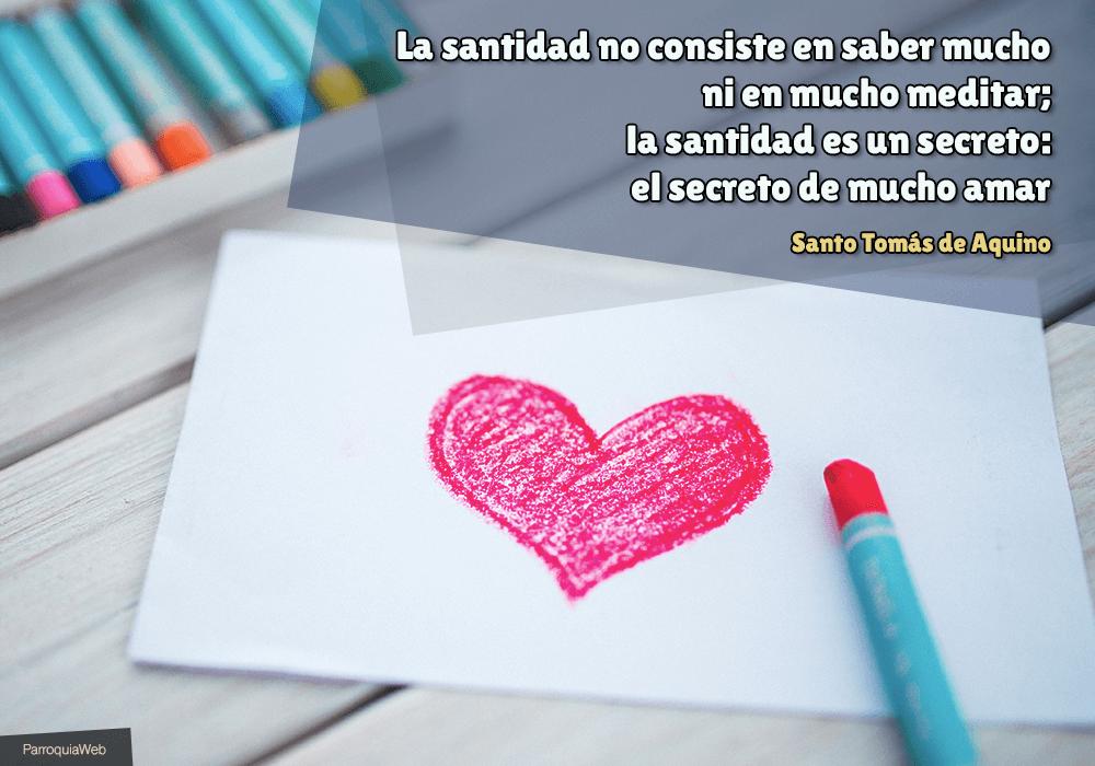 La santidad no consiste en saber mucho ni en mucho meditar; la santidad es un secreto: el secreto de mucho amar - Santo Tomás de Aquino