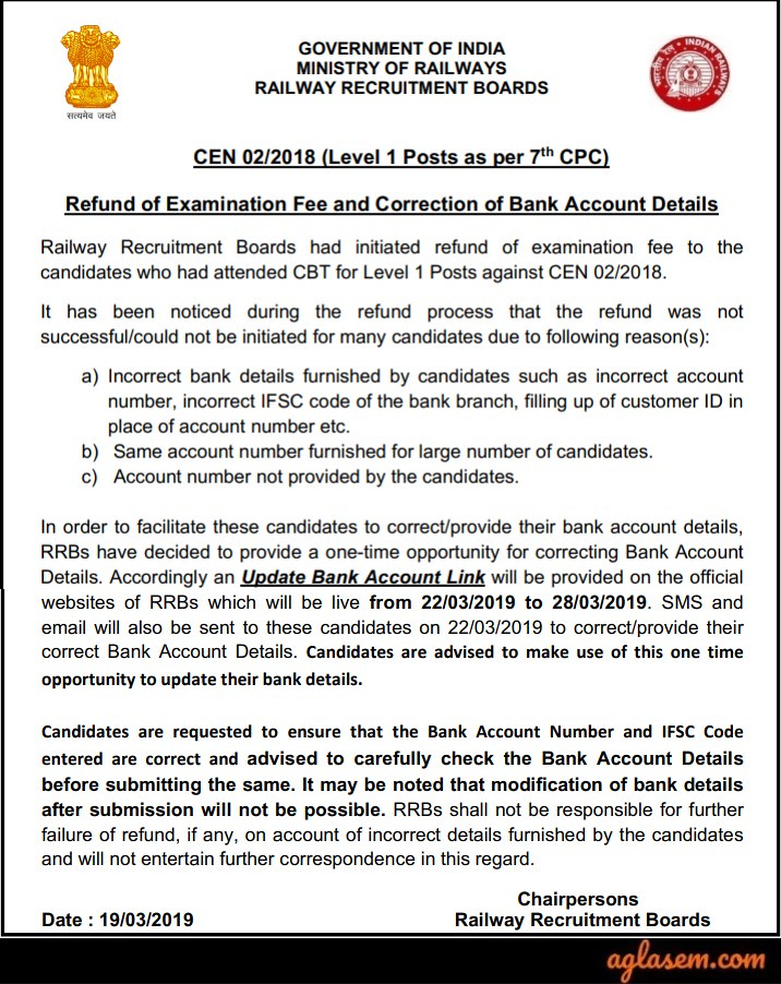 RRB Group D Fee Refund 2019 - Process (Started), Update Bank Details