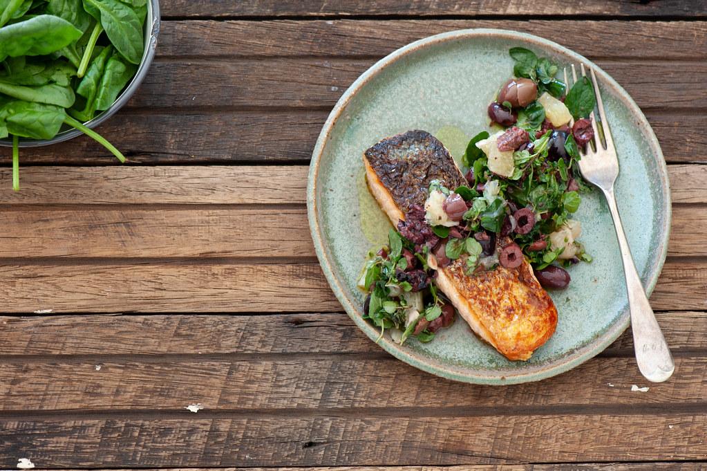 Fish with Olive & Lemon Salsa--