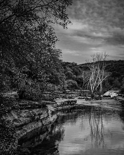 bw blackwhite blackandwhite bullcreek bullcreekdistrictpark creek falls landscape monochrome trees water wet austin texas unitedstatesofamerica us
