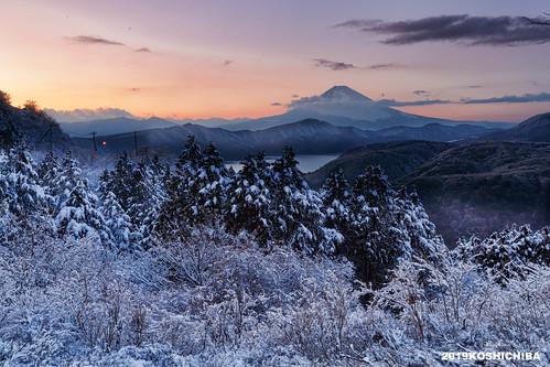 Winter snow mt.fuji from daikanyama