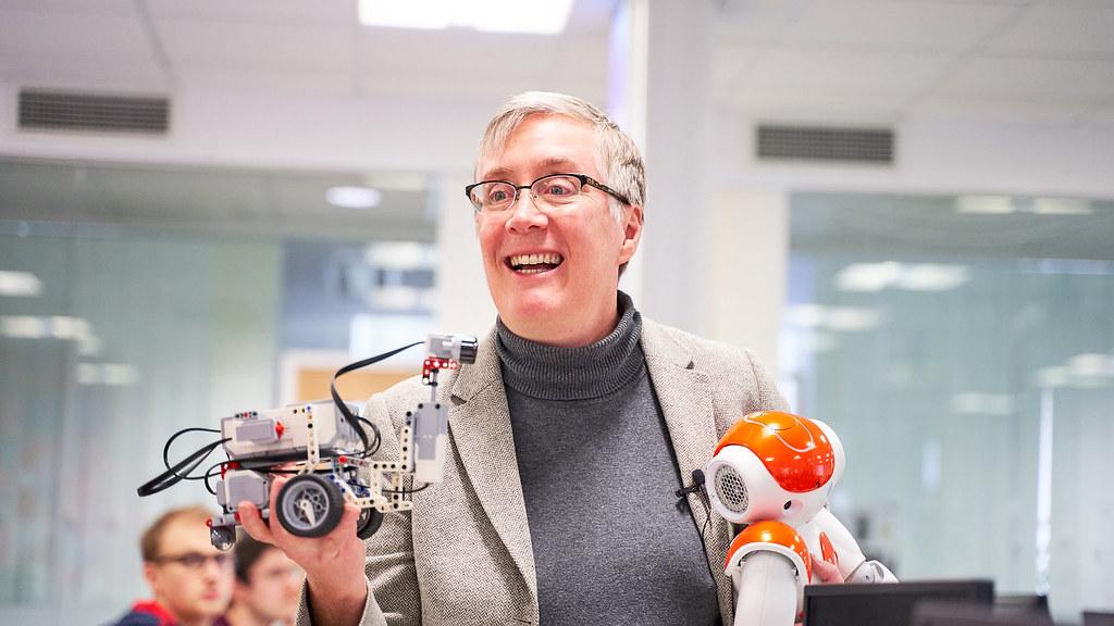Joanna Bryson with robots