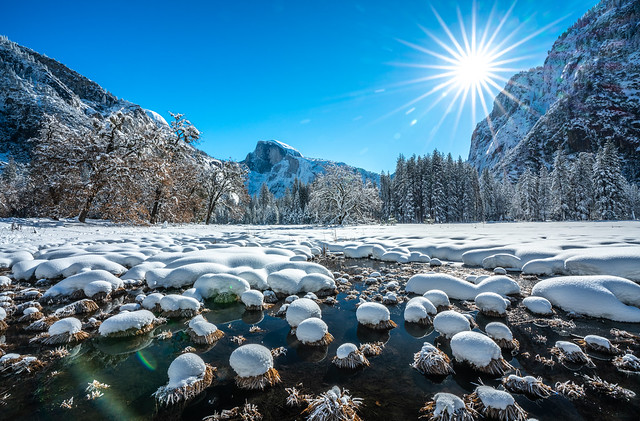 Yosemite Cooks Meadow Elm Tree Half Dome Fine Art Winter Photography Sony A7R III & FE 16–35 mm G Master Wide-Angle Zoom Lens SEL1635GM Winter Snow Fine Art!  Yosemite National Park Winter Snow California Landscape Photography! High Res 4k 8K McGucken Art