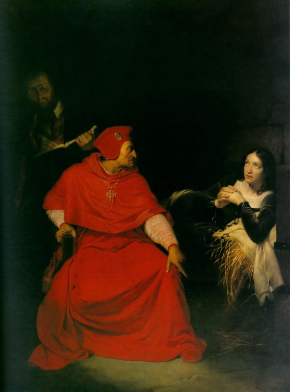 Joan of Arc interrogated in her prison cell by the Cardinal of Winchester, by Hippolyte Delaroche, oil on canvas, 1824, Currently at the Musée des Beaux-Arts, Rouen, France.