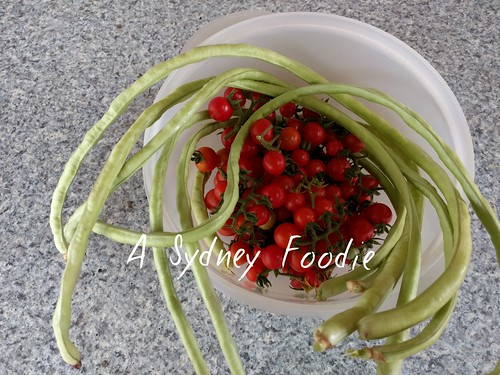 Snake beans, Cherry tomatoes