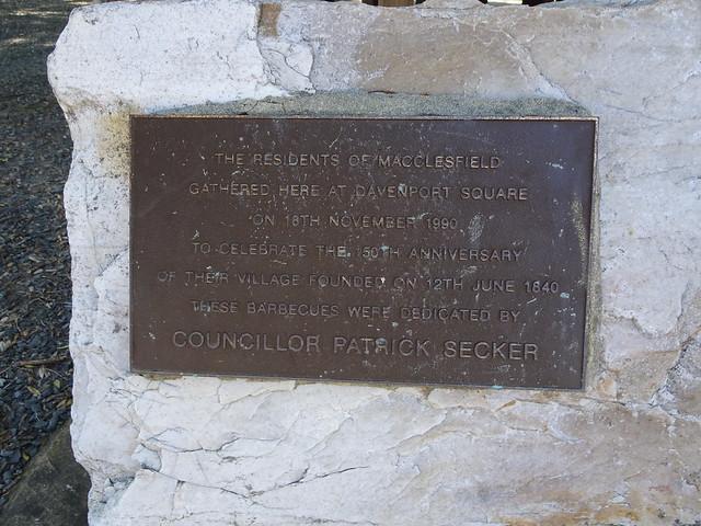 Photo:Macclesfield. Plaque commemorating the establishment of the village in 1840. By denisbin