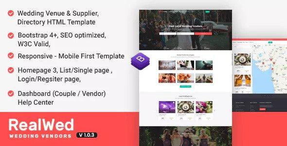 Realwed v1.0.3 - Wedding Supplier Directory & Listing HTML Template