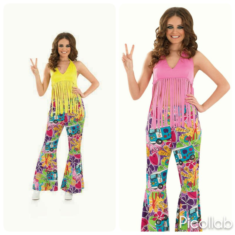 Ladies 60s Hippy fringed top fancy dress costume Flower Pink Yellow Womens
