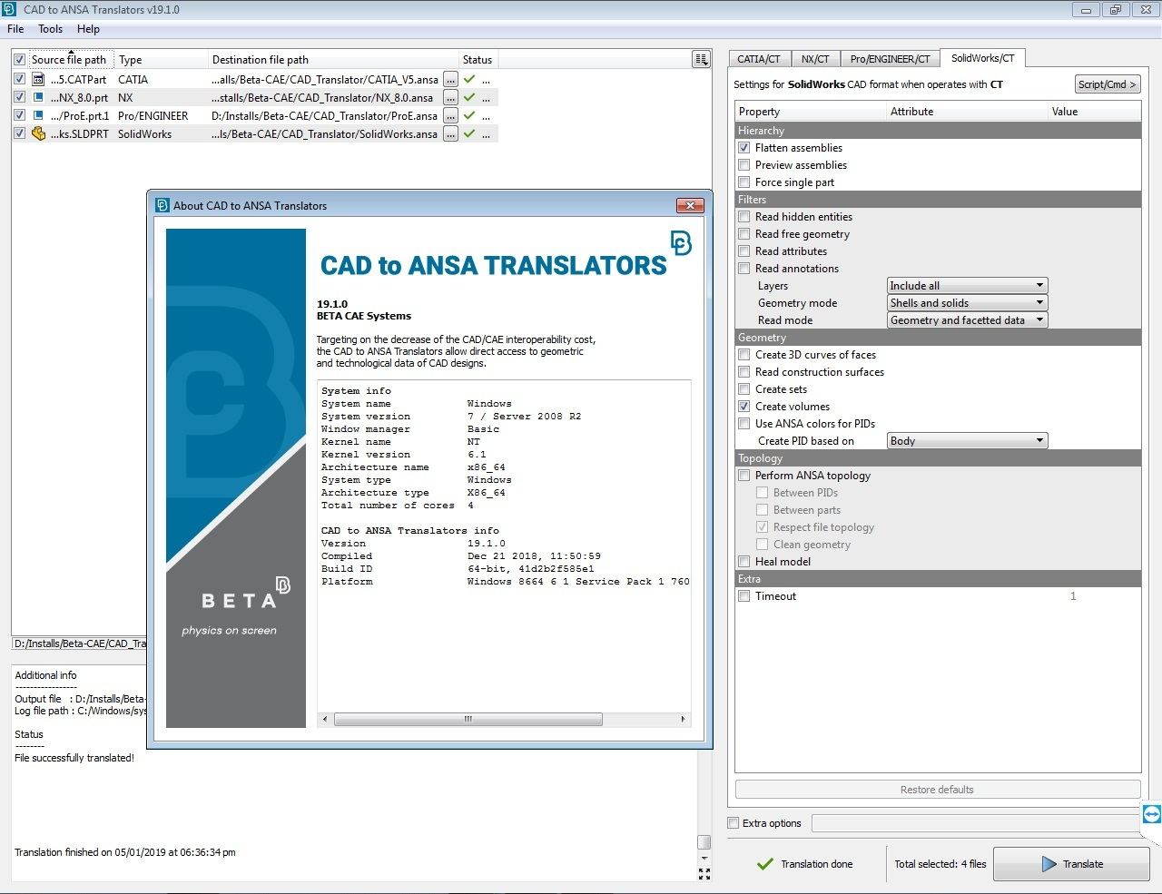Working with BETA CAE CAD Translator 19.1.0 full license
