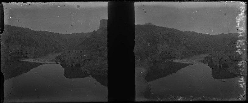 Río Tajo y Turbinas de Vargas vistos desde el Puente de Alcántara de Toledo el 24 de febrero de 1918. Fotografía de Carles Batlle Ensesa © Ajuntament de Girona. CRDI (Carles Batlle Ensesa)
