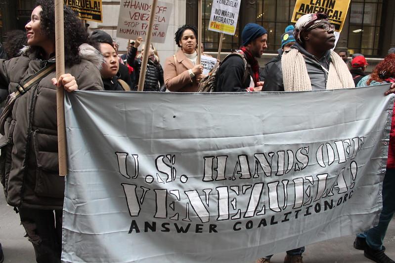 New Yorkers protest U.S. intervention in Venezuela