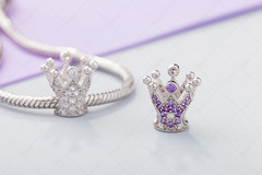 Crown shaped charm bead with purple gems for chain bracelet