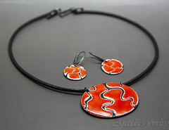 Red jewelry set Enameled jewellery Red necklace earring set - Liquid Lava