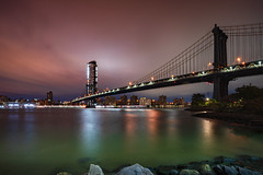 New York city skyline Manhattan Bridge at dusk