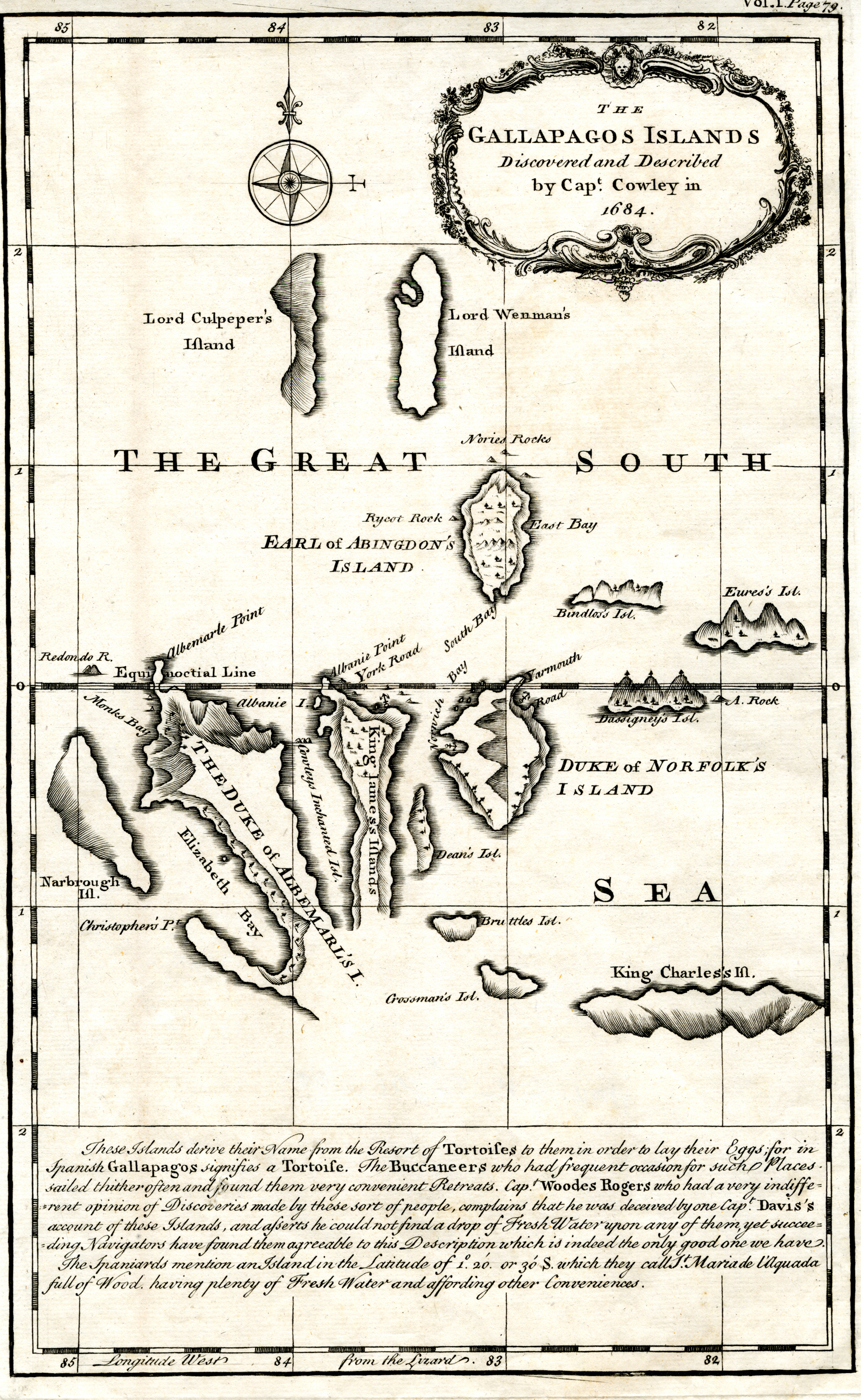 Map of the Galapagos Islands as described by Ambrose Cowley in 1684. Published in A Chronological History of the Discoveries in the South Sea or Pacific Ocean by James Burney (1803).