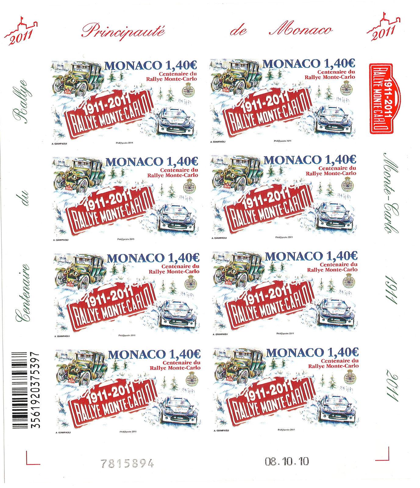 Monaco - Scott #2615 (2011) mini-sheet of 8