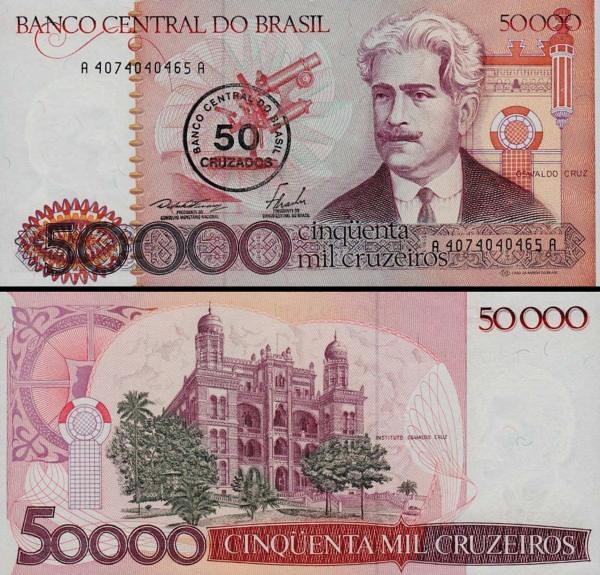 50 cruzados Brazília 1986, pretlač P207
