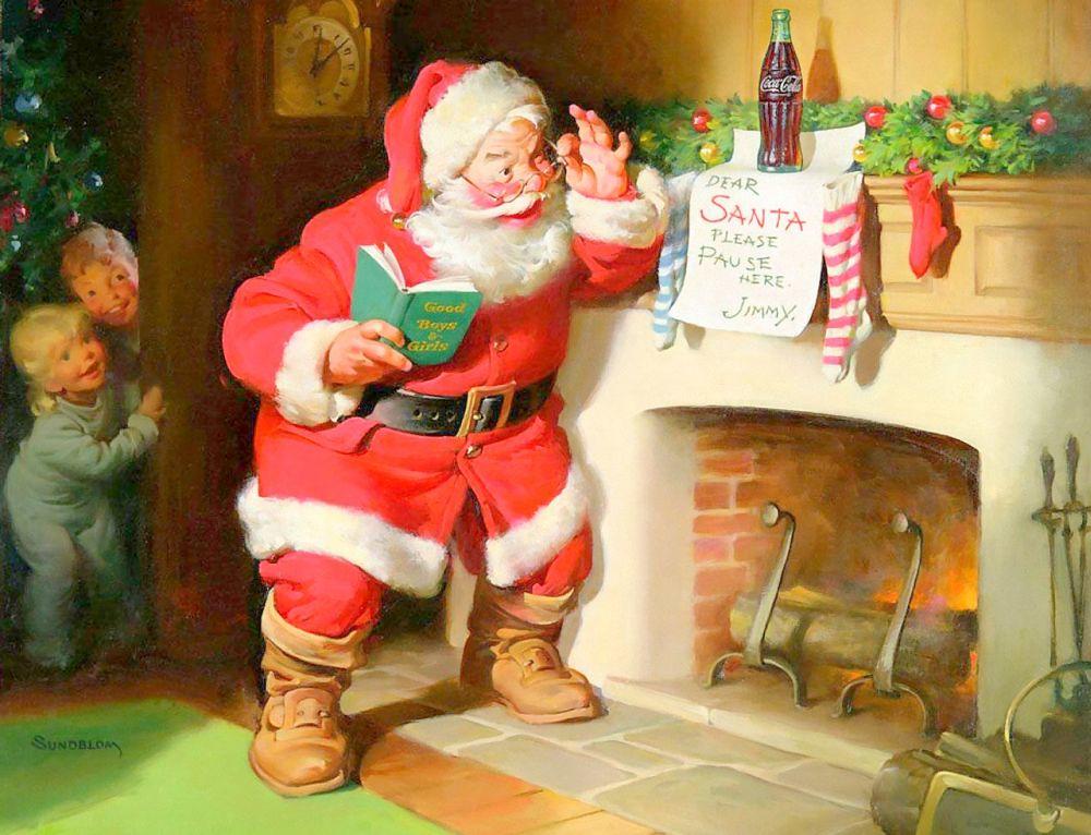 Санта-Клаус на рекламной открытке Coca-Cola