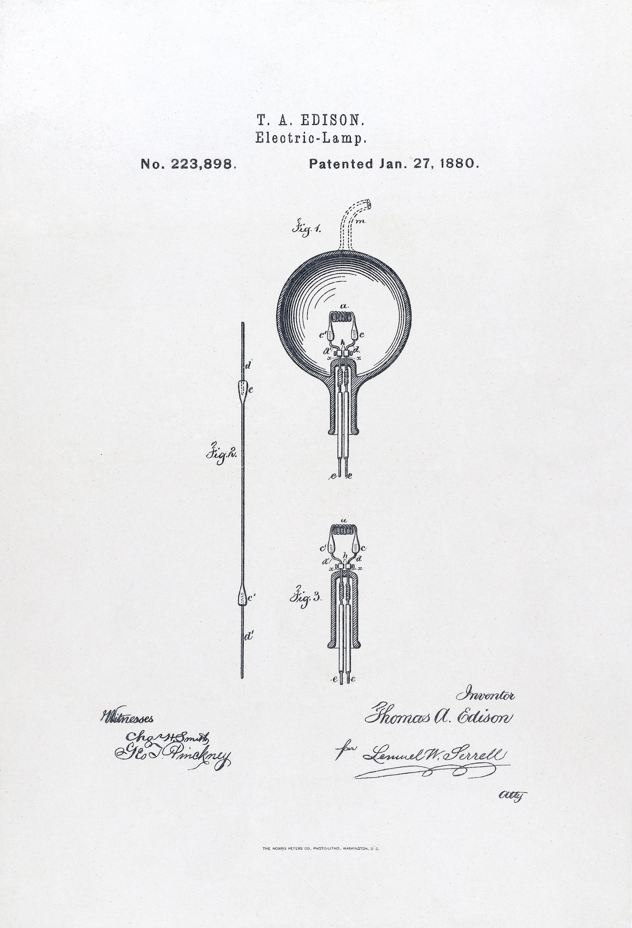 U.S. Patent#223898: Electric-Lamp patent application. Issued January 27, 1880. Photolithography reproduction.