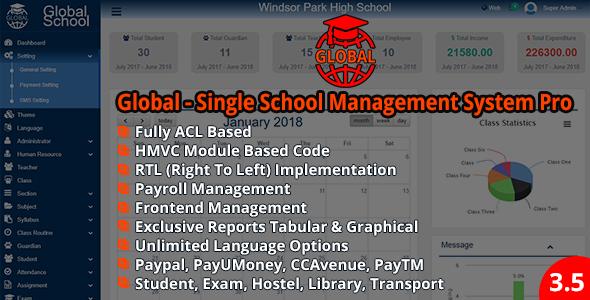 Global - Single School Management System Pro v3.5.0