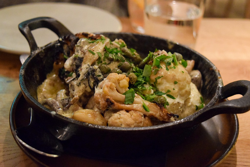 Cauliflower with Chestnuts, Mushrooms and Buttermilk at Rovi, Fitzrovia
