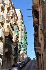 The steep streets of Valletta