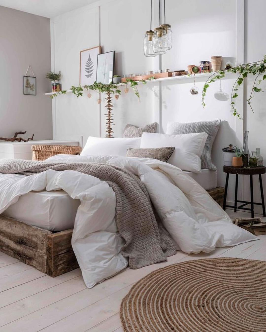 Neutral Cozy Bedroom Inspiration Fluffy Cloud Down Comforter Bed Wood Frame Platform Bed