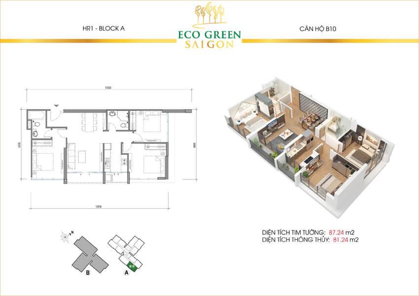 Mặt bằng căn hộ 3 phòng ngủ loại B10 dự án Eco-Green Sài Gòn quận 7.