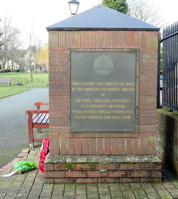 Side of Royal Regiment of Artillery Memorial, Oswestry